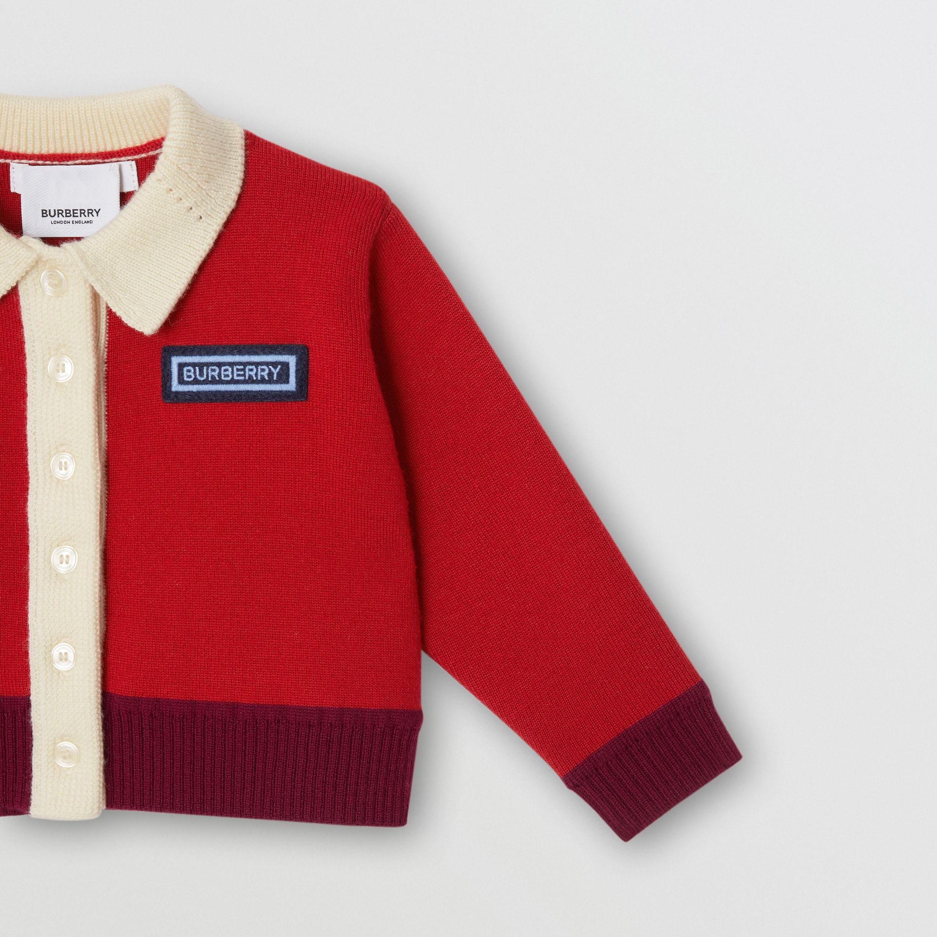 Logo Detail Merino Wool Blend Cardigan in Bright Red - Children | Burberry United Kingdom - gallery image 4