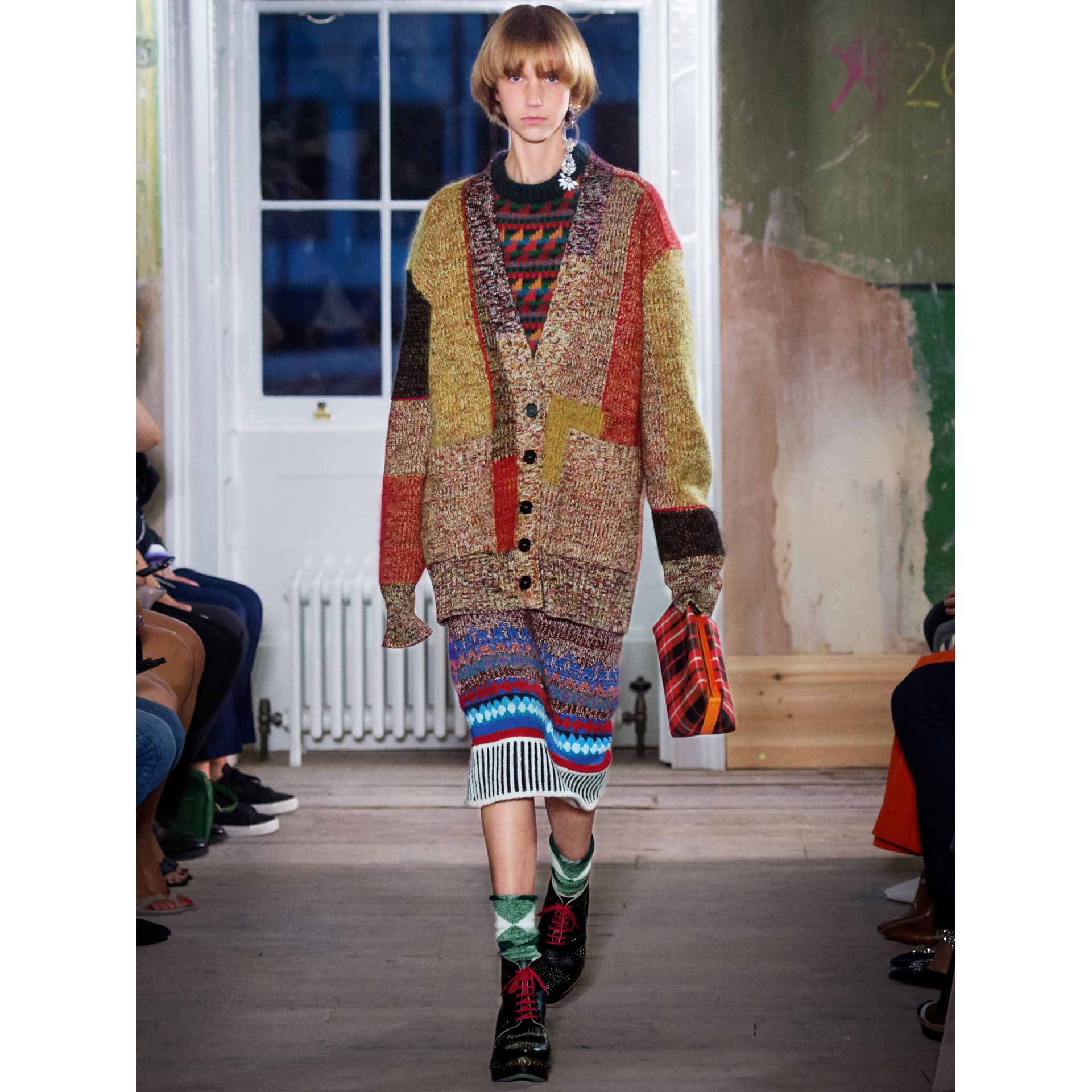 Wool Linen Mohair Blend Mouliné Oversized Cardigan in Multicolour - Women | Burberry - gallery image 6
