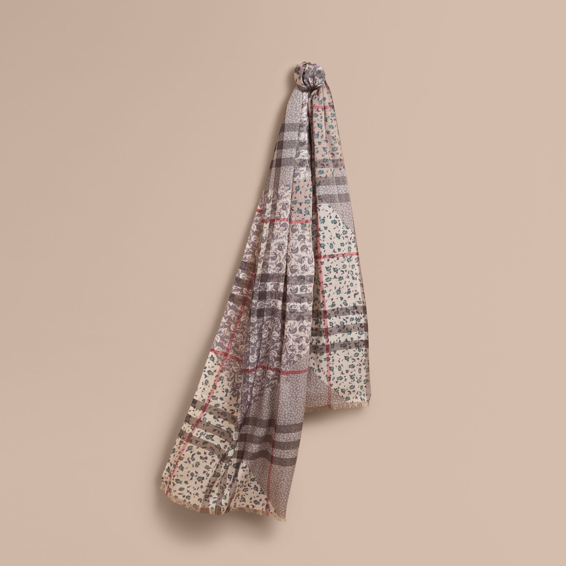 Patchwork Floral Check Wool Silk Scarf in Steel Blue - Women | Burberry Canada - gallery image 1