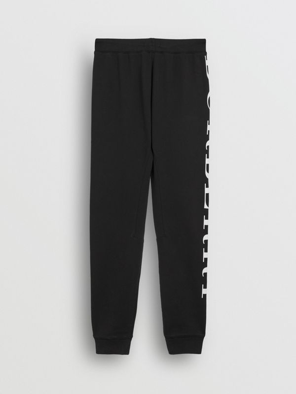 Logo Print Cotton Trackpants in Black | Burberry - cell image 3