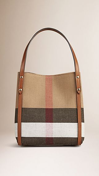 Canvas Check Tote Bag