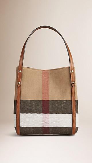 Canvas Check Tote Bag