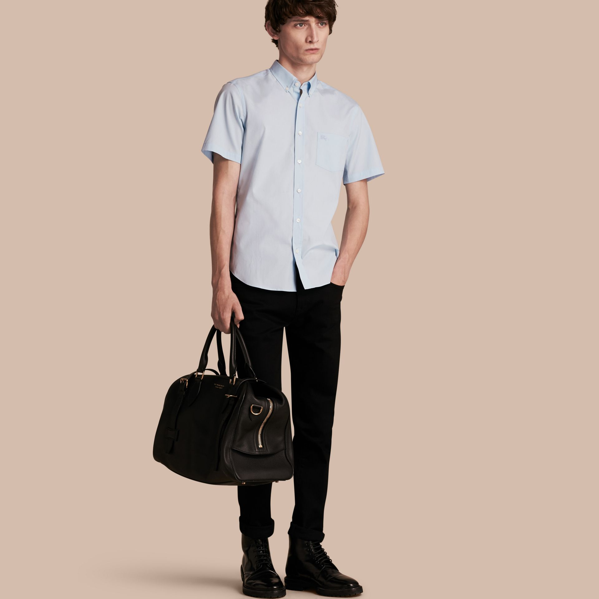 Short-sleeved Stretch Cotton Poplin Shirt in Pale Blue - Men | Burberry - gallery image 1