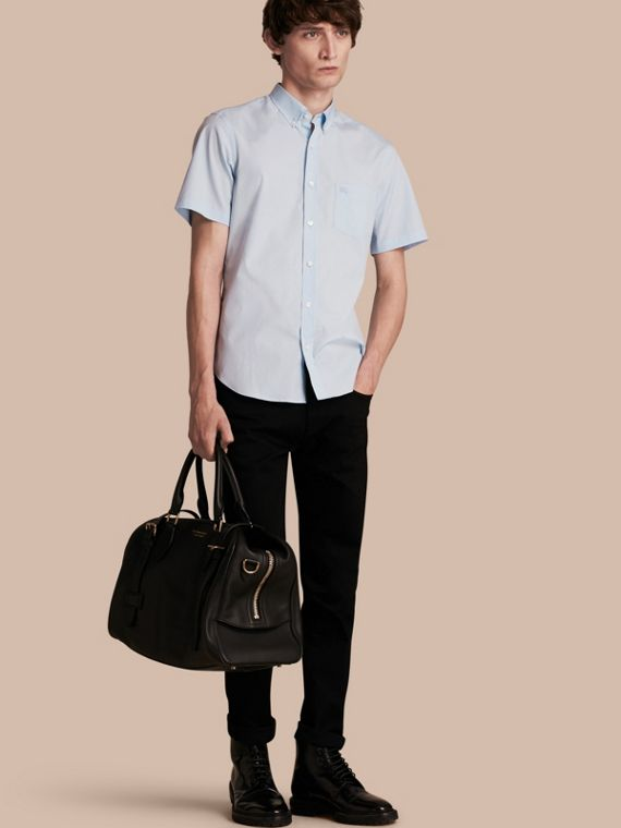 Short-sleeved Stretch Cotton Poplin Shirt in Pale Blue
