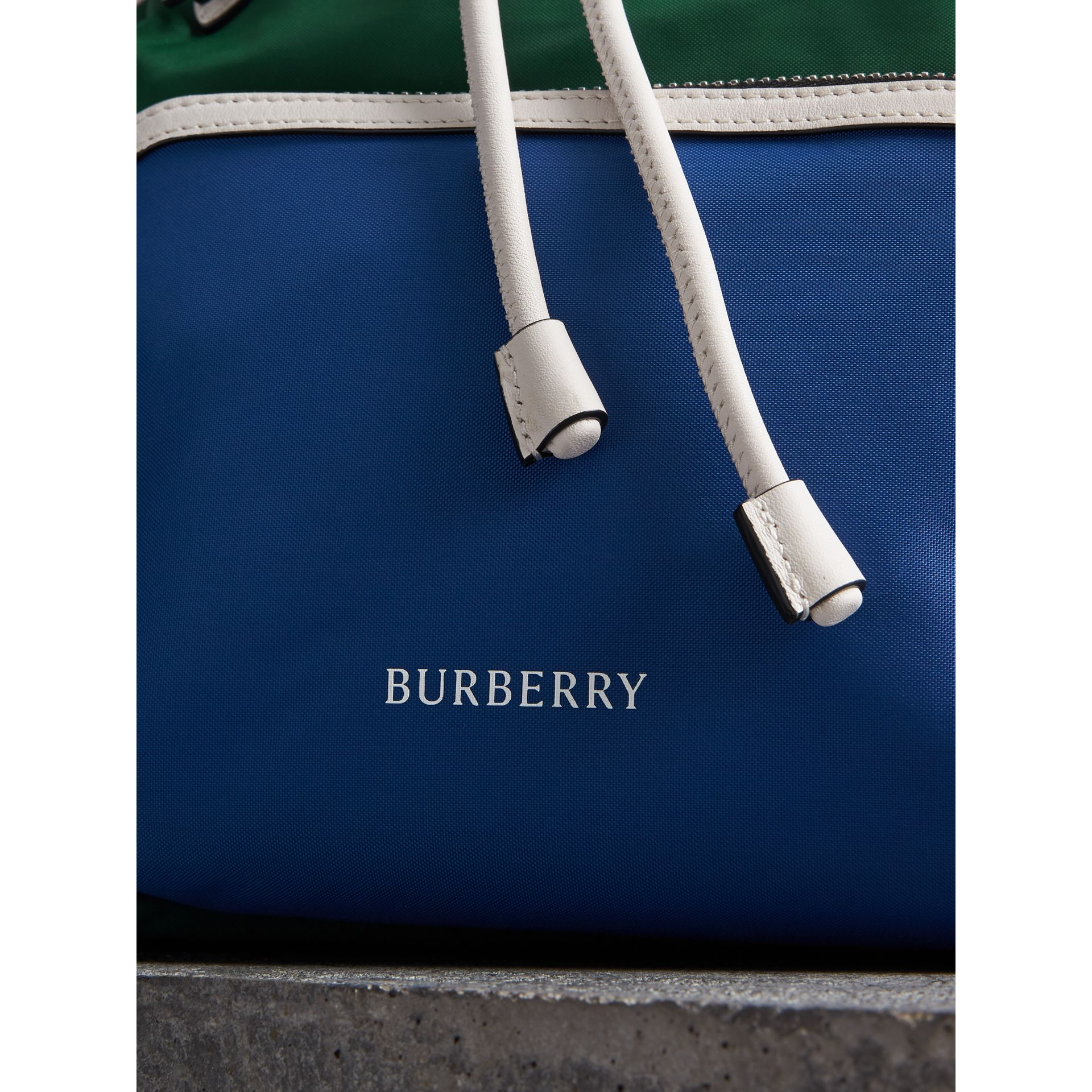 The Medium Rucksack in Colour Block Nylon and Leather in Dark Canvas Blue - Women | Burberry United States - gallery image 1