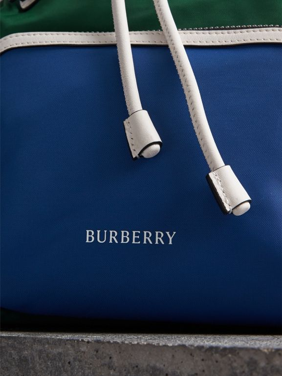 The Medium Rucksack in Colour Block Nylon and Leather in Dark Canvas Blue - Women | Burberry - cell image 1