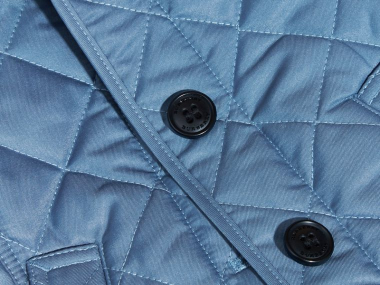 Pale pewter blue Check Detail Quilted Jacket - cell image 1