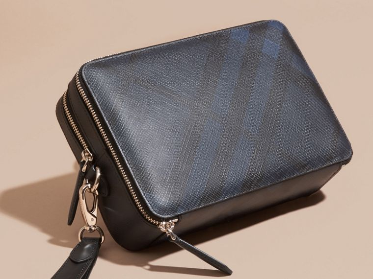Leather-trimmed London Check Pouch in Navy/black - Men | Burberry Australia - cell image 4