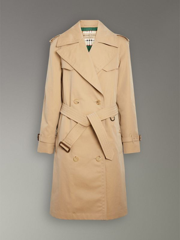 Scarf-print-lined Tropical Gabardine Trench Coat in Honey - Women | Burberry Hong Kong - cell image 3