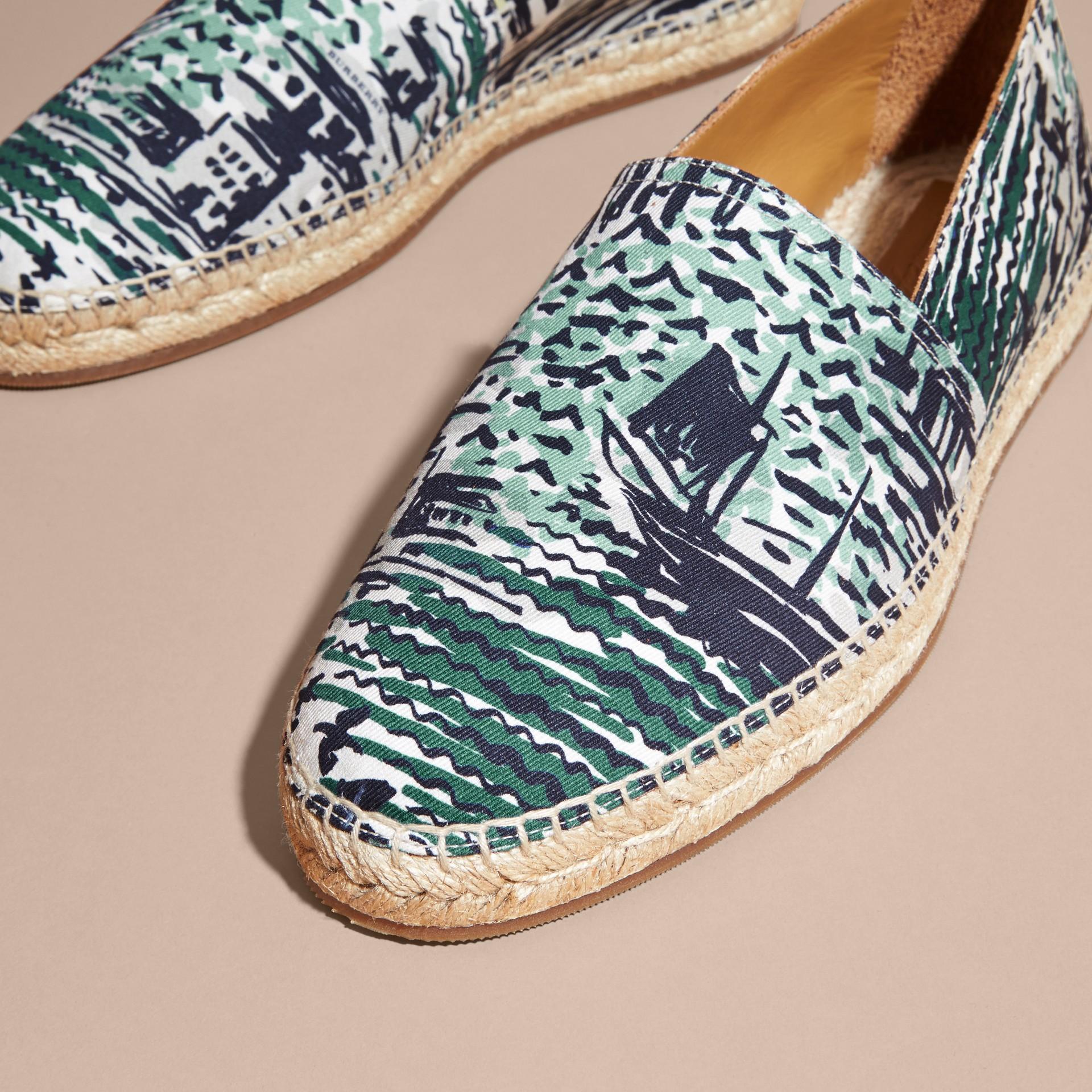 British Seaside Print Cotton Espadrilles Aqua Green - gallery image 4