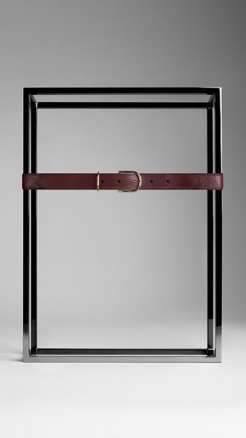 Deep claret Embossed Check London Leather Belt Deep Claret - Image 2