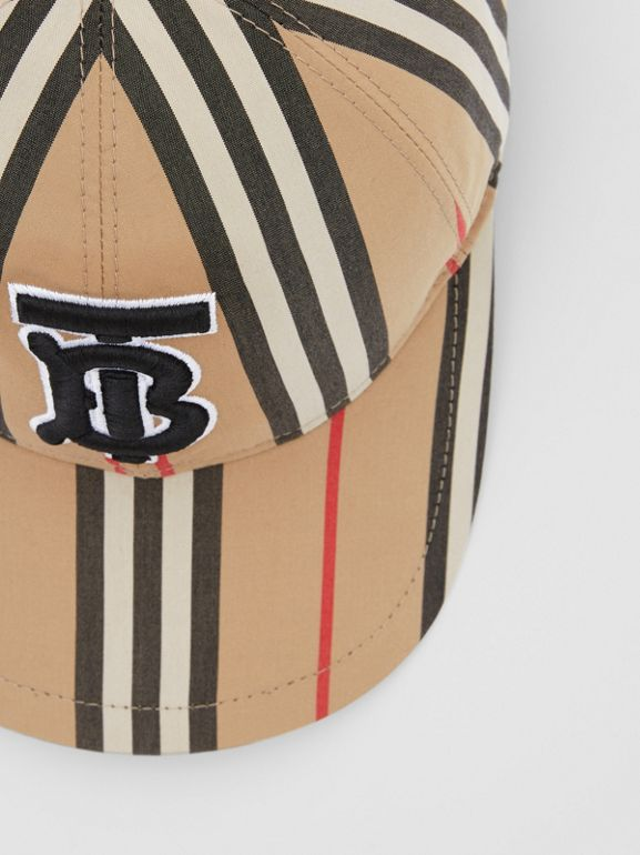Monogram Motif Icon Stripe Cotton Baseball Cap in Archive Beige | Burberry United Kingdom - cell image 1