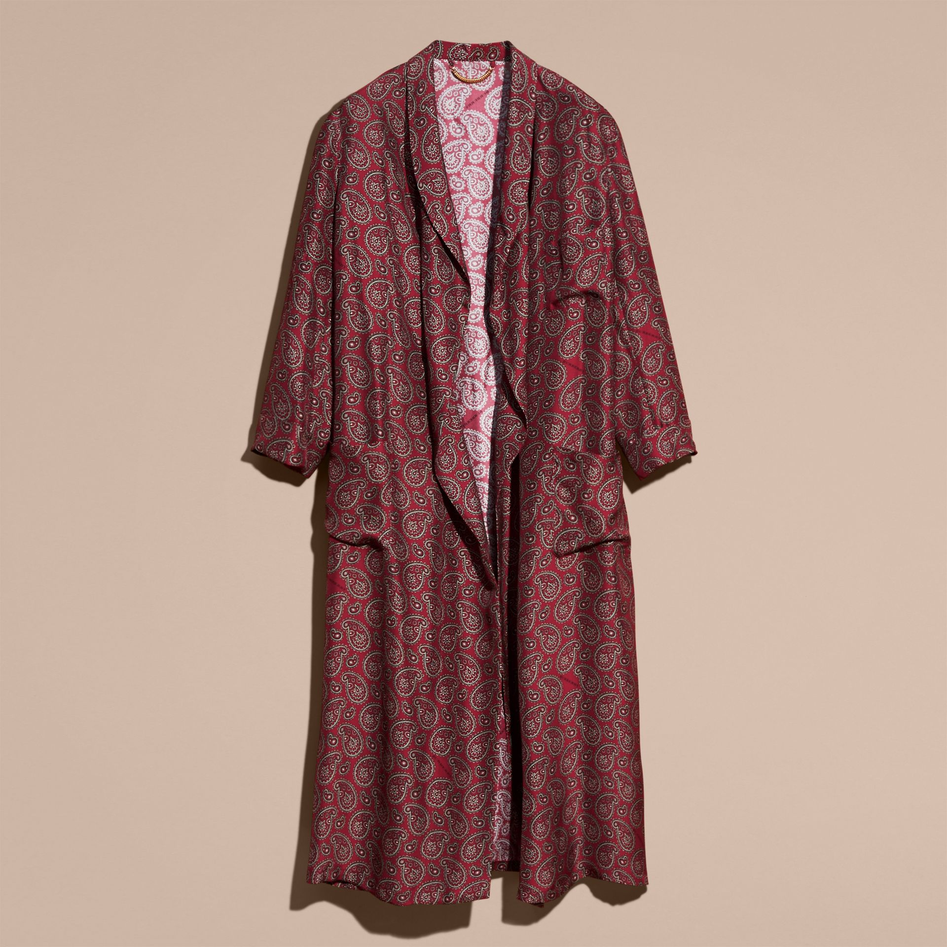 Berry red Paisley Print Panama Silk Dressing Gown Coat - gallery image 4