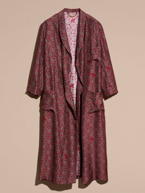 Berry red Paisley Print Panama Silk Dressing Gown Coat - cell image 3