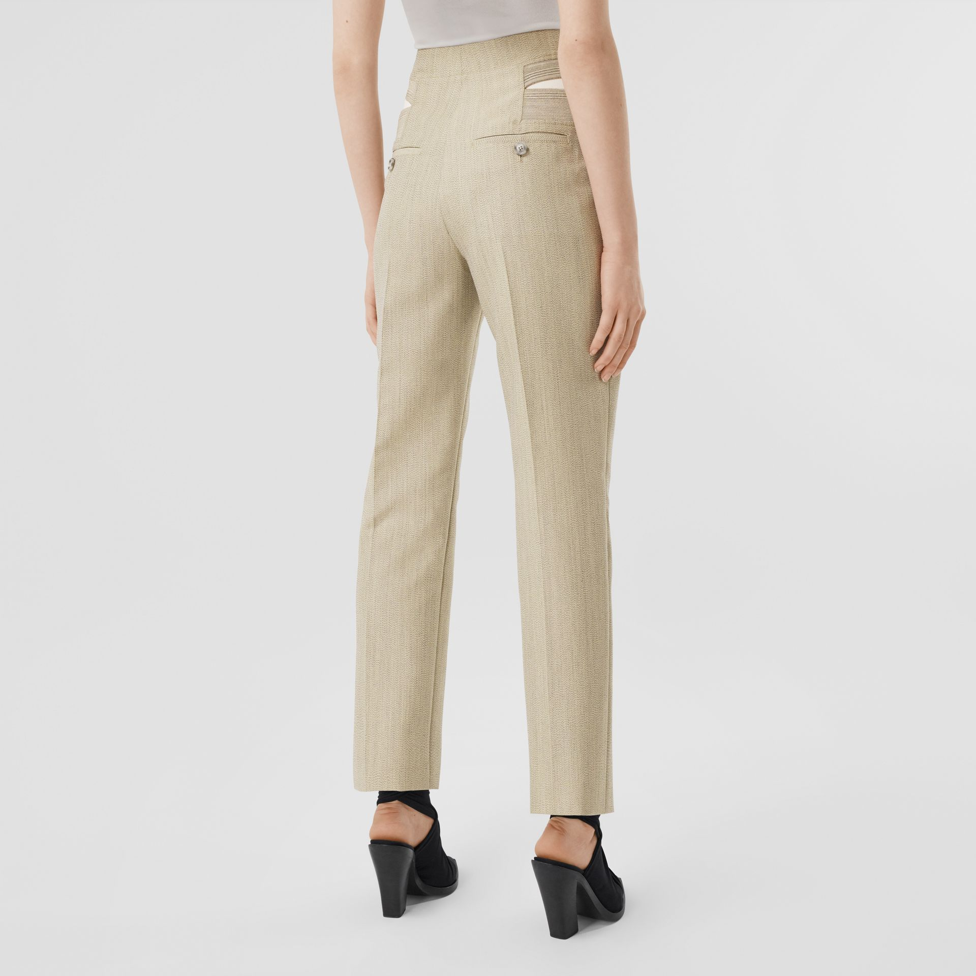 Technical Wool Reconstructed Trousers in Grey - Women | Burberry - gallery image 2