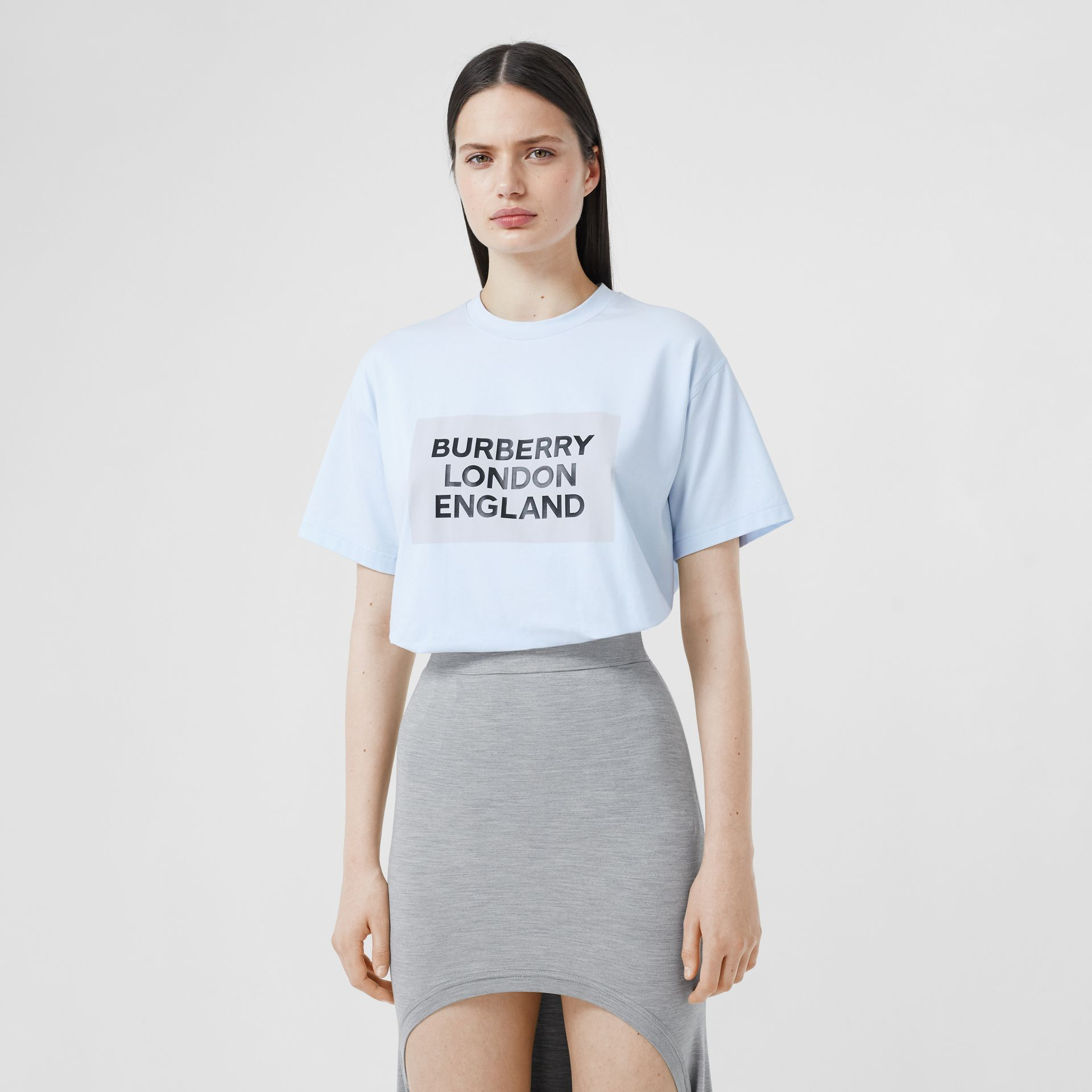 Logo Print Stretch Cotton Oversized T-shirt in Light Blue - Women | Burberry - gallery image 4
