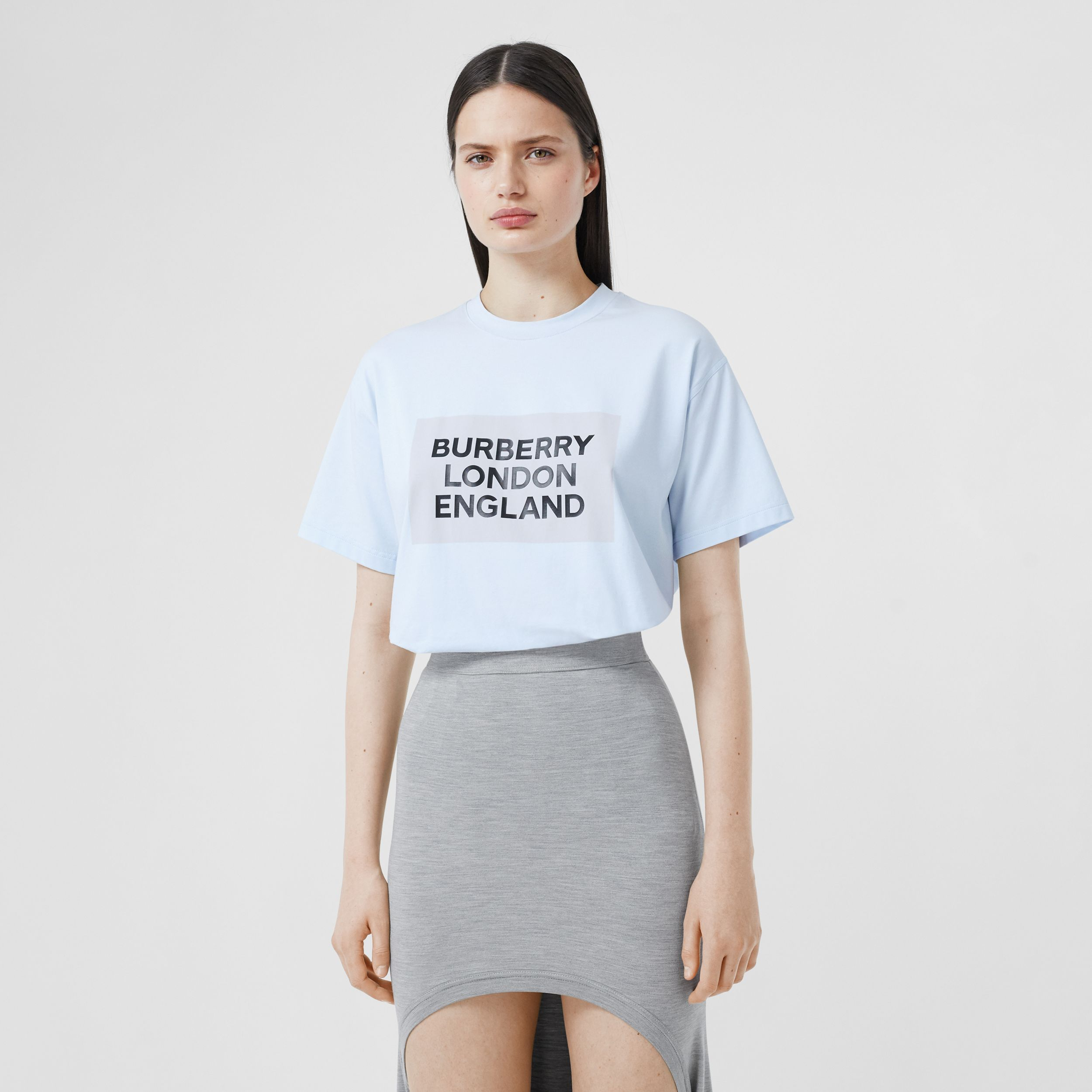 Logo Print Stretch Cotton Oversized T-shirt in Light Blue - Women | Burberry - 1