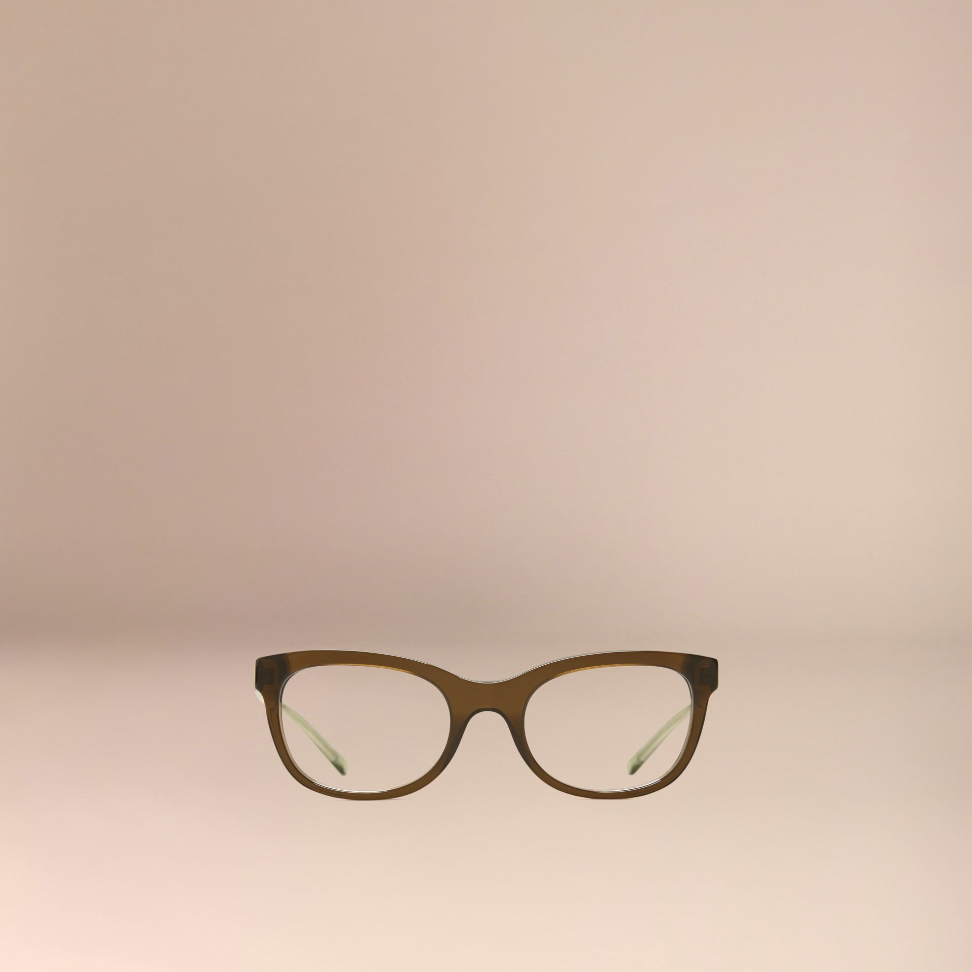 Olive Check Detail Oval Optical Frames Olive - gallery image 2