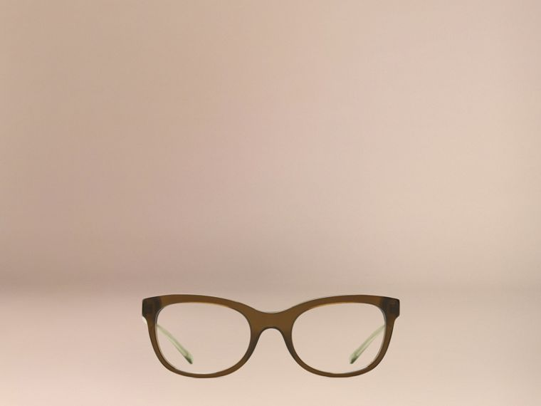 Olive Check Detail Oval Optical Frames Olive - cell image 1