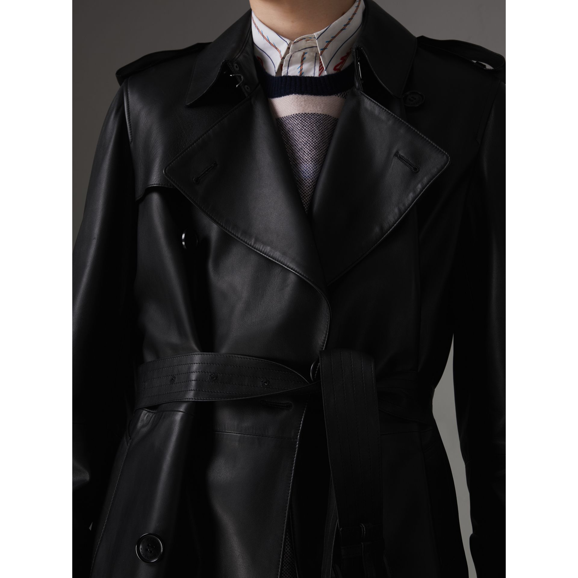 Lambskin Trench Coat in Black - Men | Burberry United Kingdom - gallery image 1
