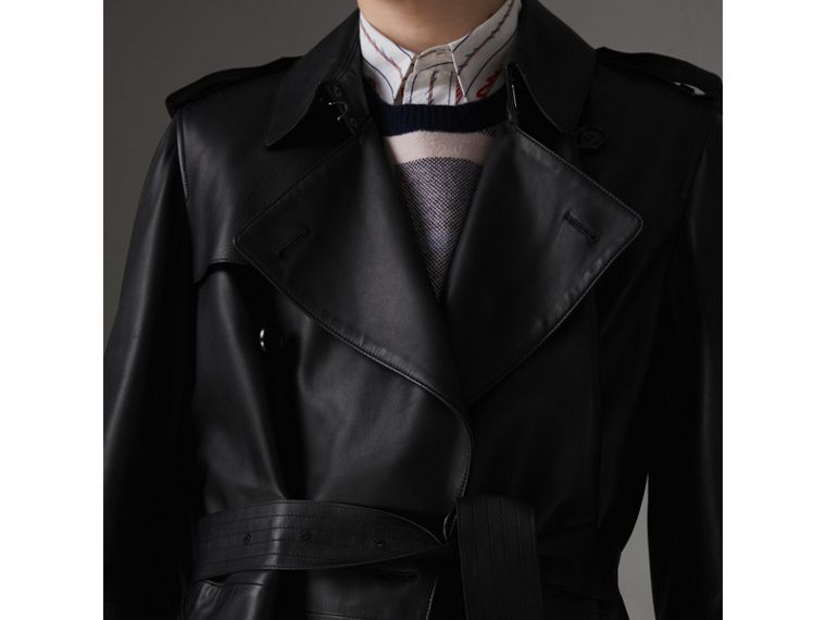 Lambskin Trench Coat in Black - Men | Burberry - cell image 1