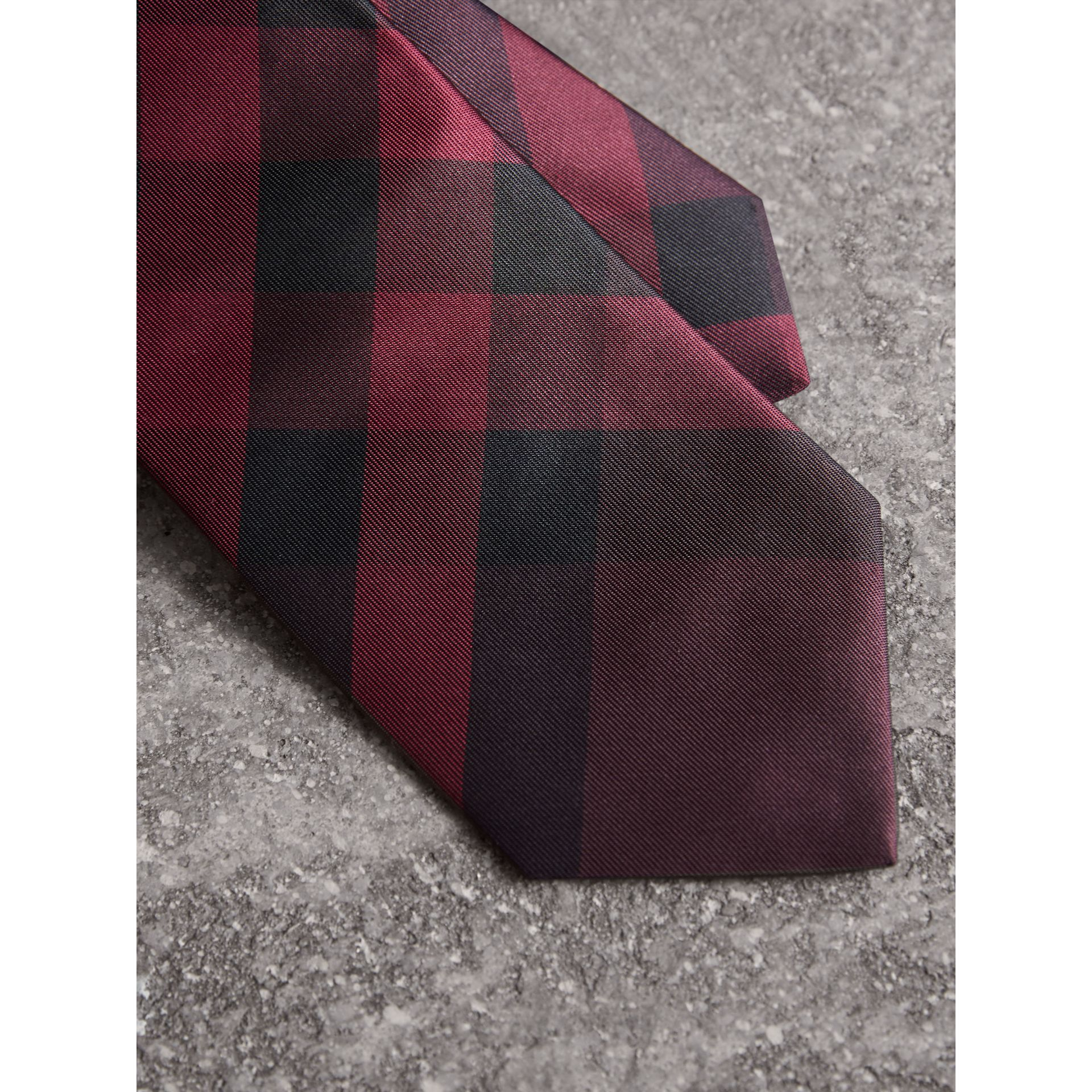 Modern Cut Check Silk Tie in Deep Claret - Men | Burberry Singapore - gallery image 1