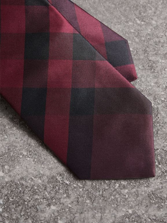 Modern Cut Check Silk Tie in Deep Claret - Men | Burberry Singapore - cell image 1