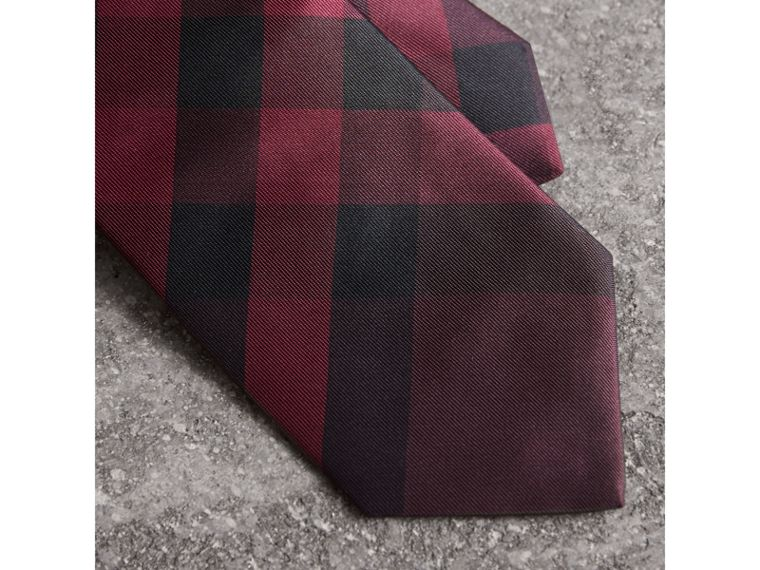 Modern Cut Check Silk Tie in Deep Claret - Men | Burberry United States - cell image 1