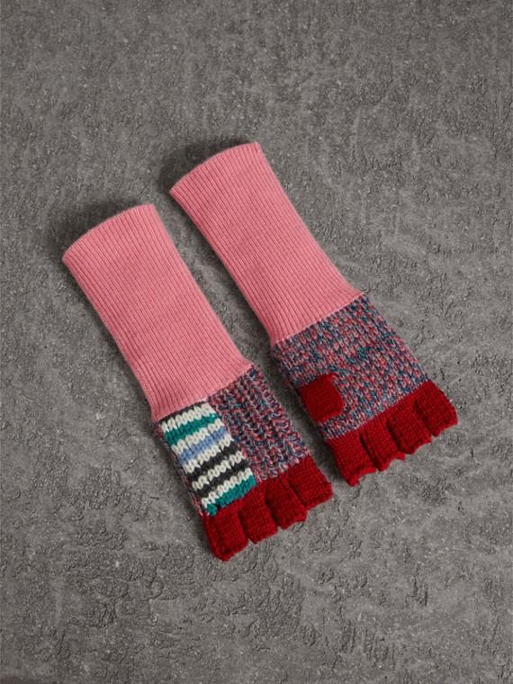 Guanti senza dita in un patchwork di lana e cashmere (Bianco Naturale/rosa)