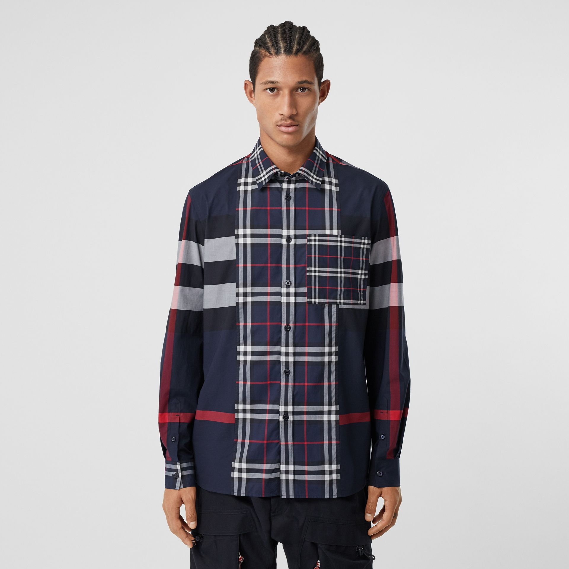 Patchwork Check Stretch Cotton Poplin Shirt in Navy - Men | Burberry - gallery image 4