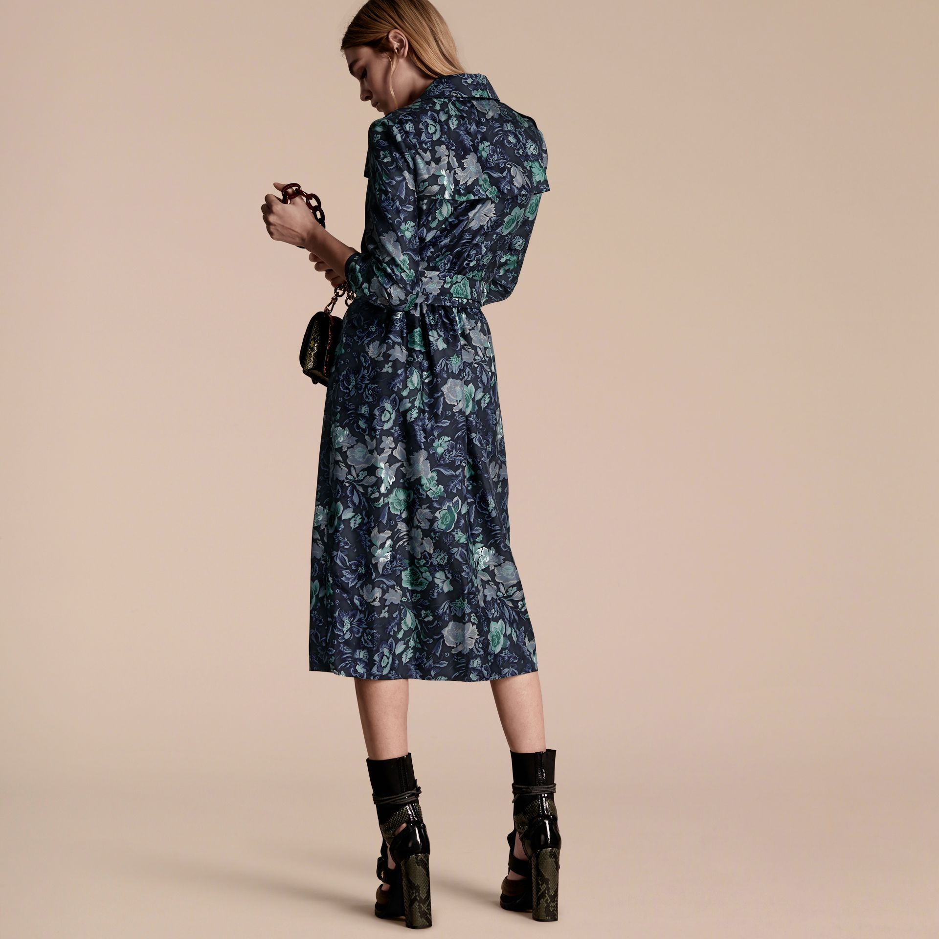 Navy Garden Floral Print Silk Wrap Trench Dress - gallery image 3
