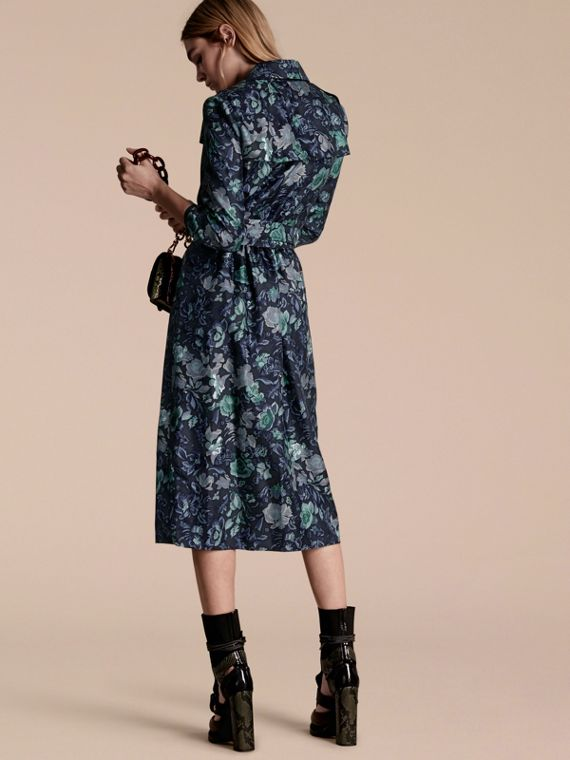 Navy Garden Floral Print Silk Wrap Trench Dress - cell image 2