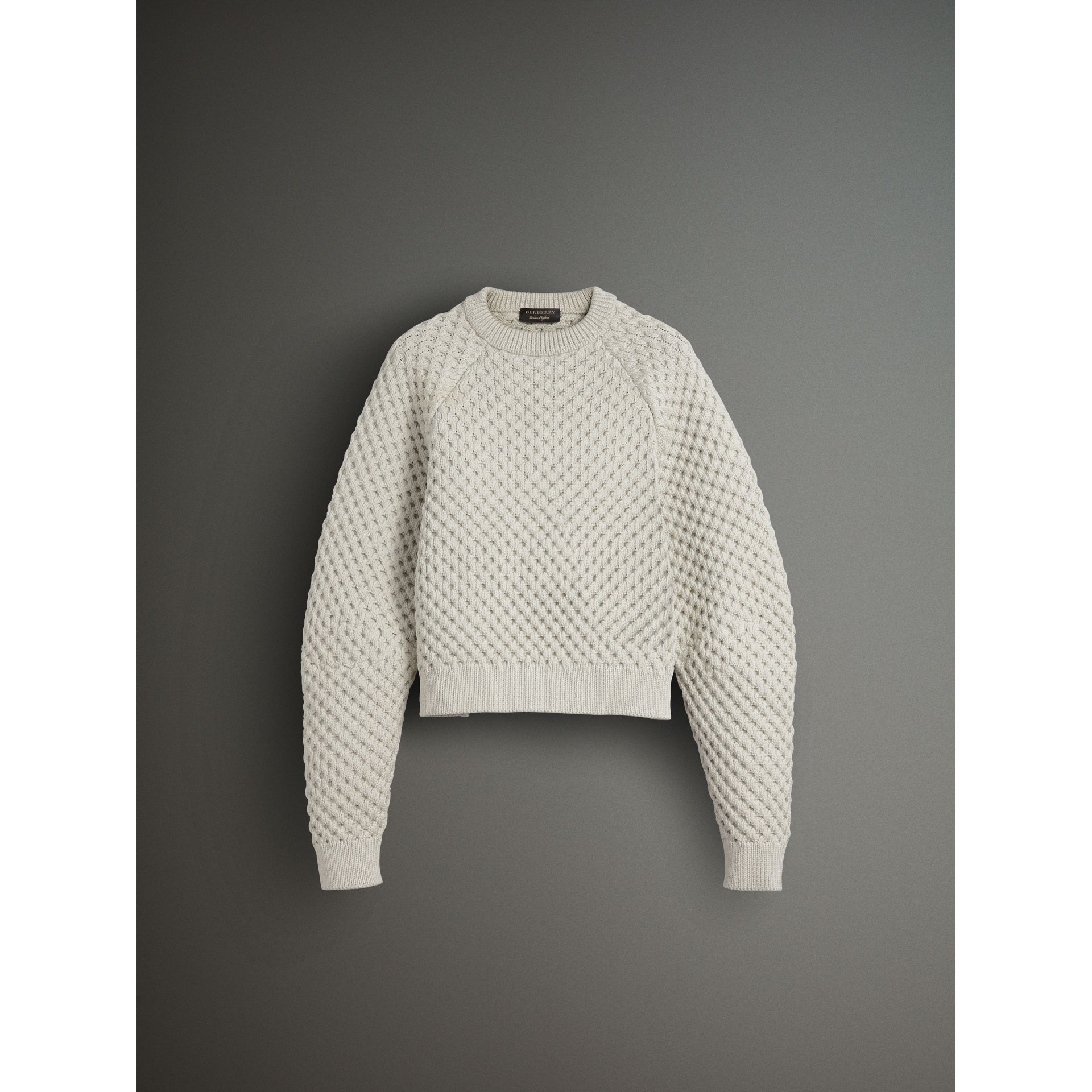 Honeycomb-stitch Cropped Sculptural Sweater in Chalk Grey - Men | Burberry United Kingdom - gallery image 3