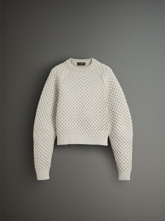 Honeycomb-stitch Cropped Sculptural Sweater in Chalk Grey - Men | Burberry Hong Kong - cell image 3