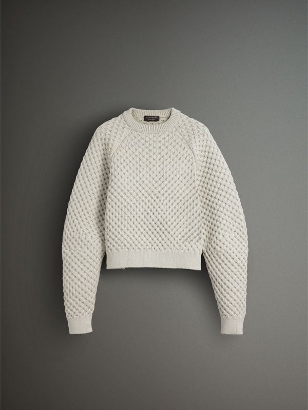 Honeycomb-stitch Cropped Sculptural Sweater in Chalk Grey - Men | Burberry - cell image 3