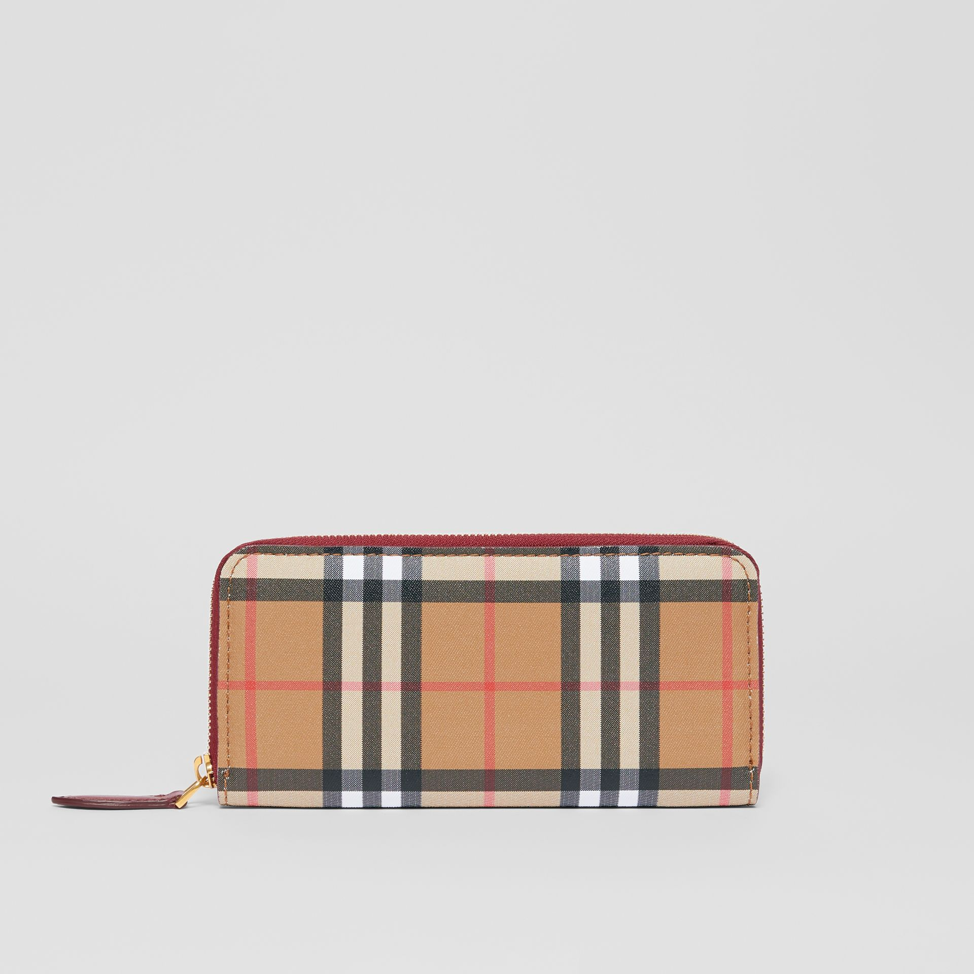 Vintage Check and Leather Ziparound Wallet in Crimson - Women | Burberry Singapore - gallery image 0