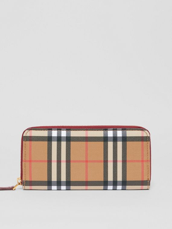 Vintage Check and Leather Ziparound Wallet in Crimson