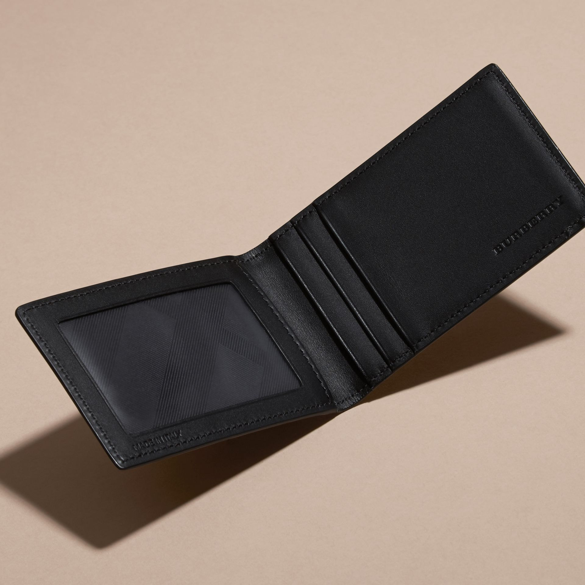 Black London Leather ID Wallet Black - gallery image 5