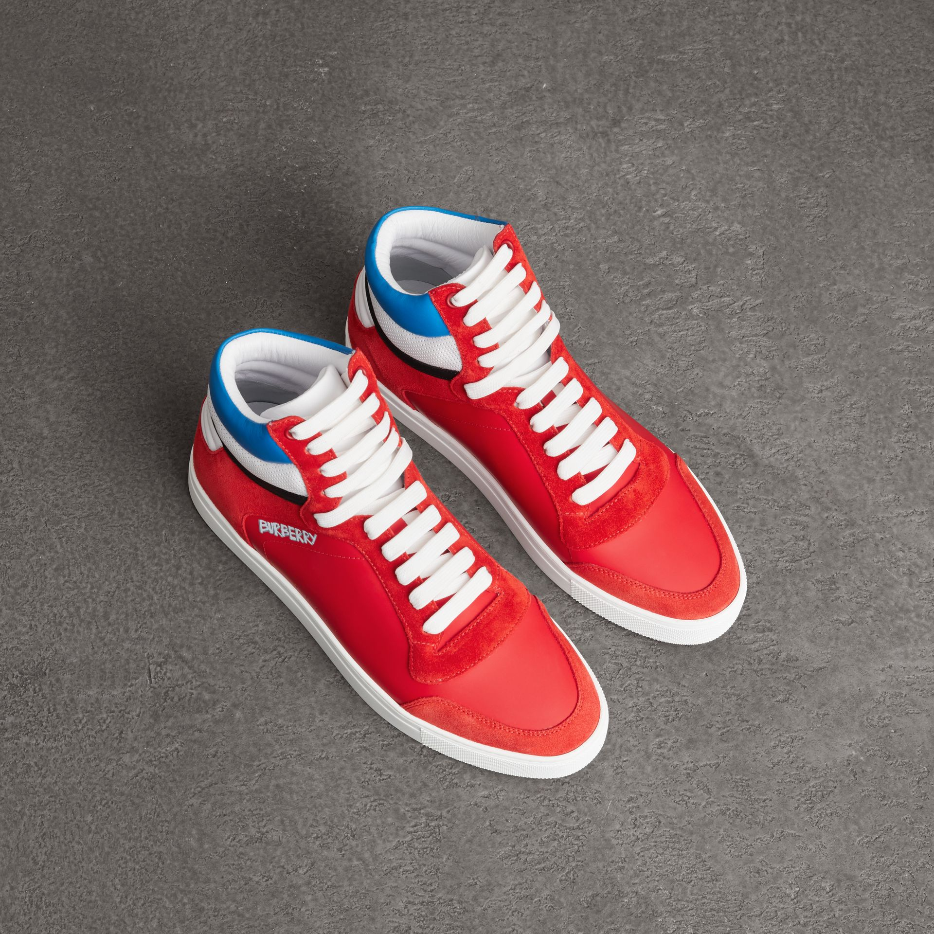 Leather and Suede High-top Sneakers in Bright Red - Men | Burberry - gallery image 0