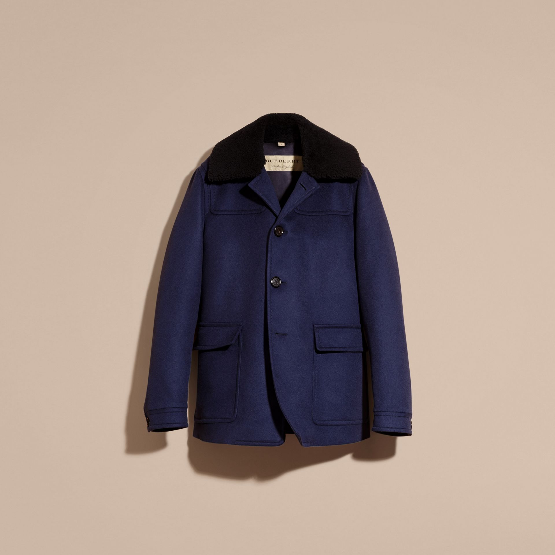 Blueberry Cashmere Donkey Jacket with Detachable Shearling Collar - gallery image 4