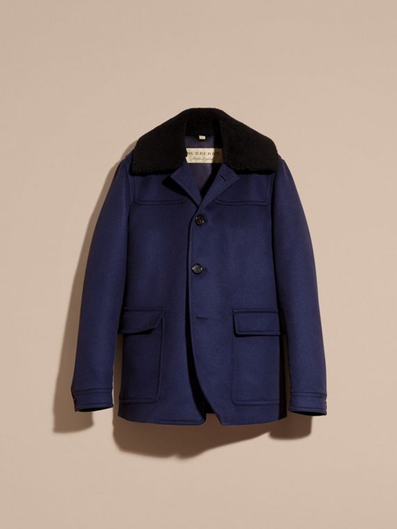 Blueberry Cashmere Donkey Jacket with Detachable Shearling Collar - cell image 3