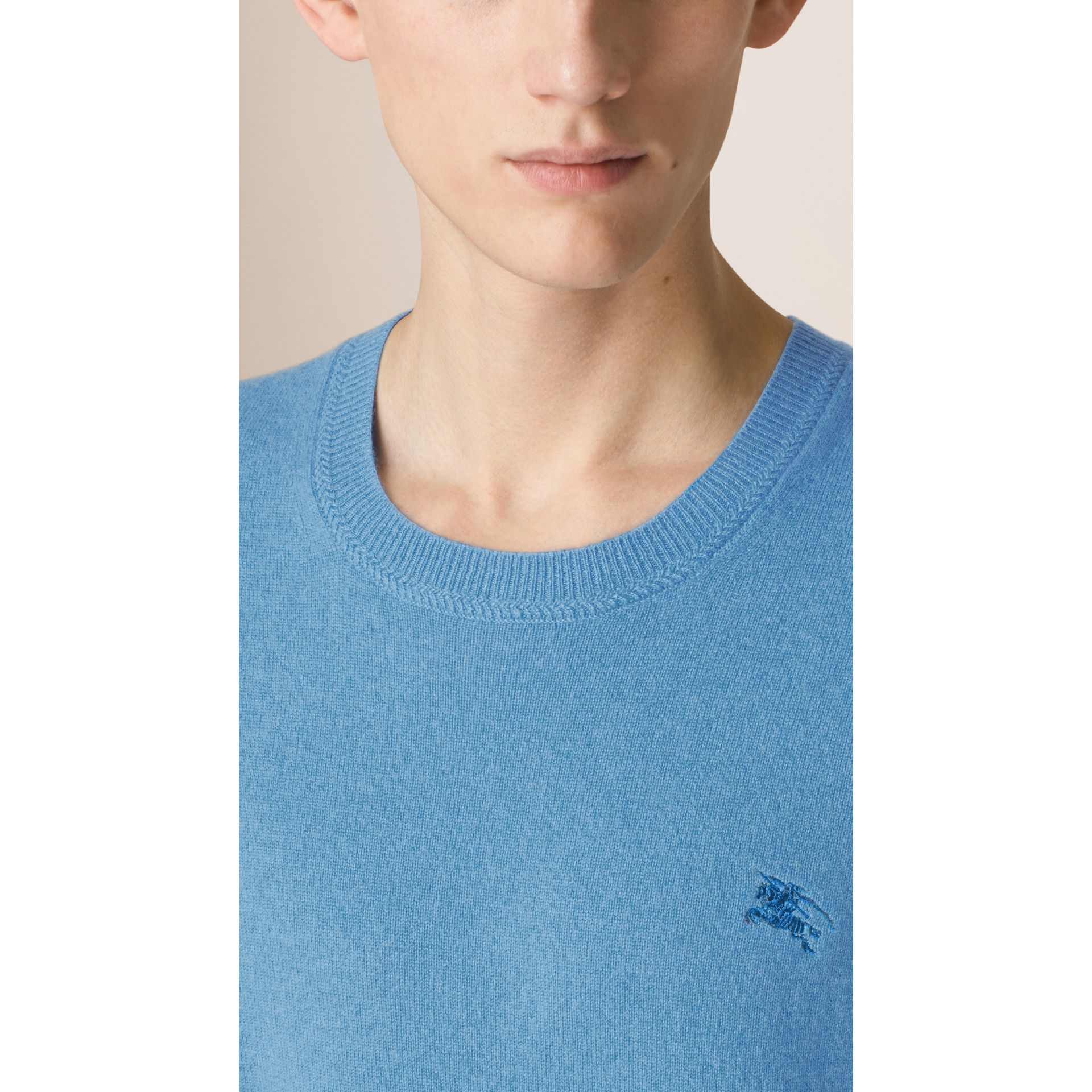 Crew Neck Cashmere Sweater in Pale Blue - Men | Burberry - gallery image 3