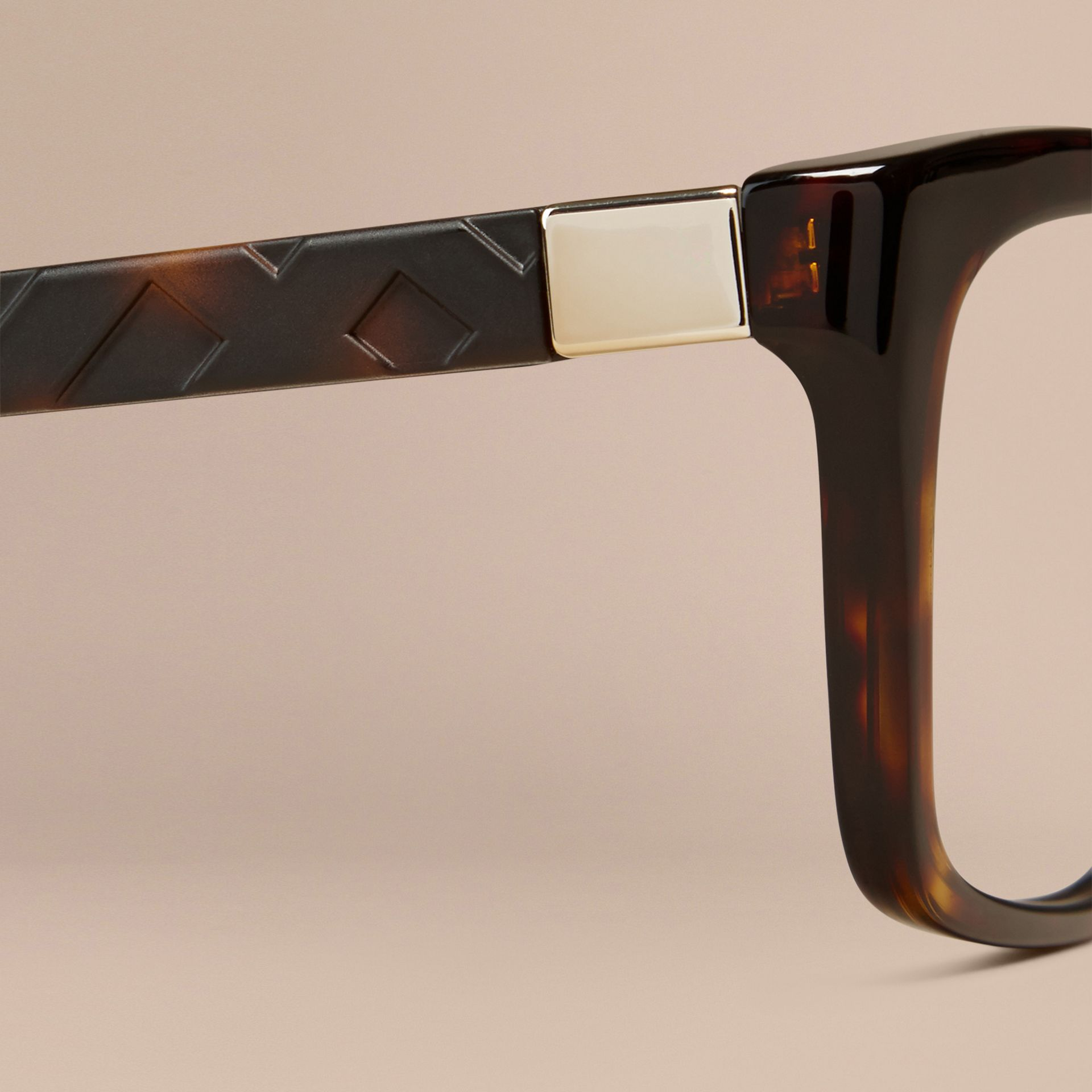 Tortoiseshell Check Detail Rectangular Optical Frames Tortoiseshell - gallery image 2