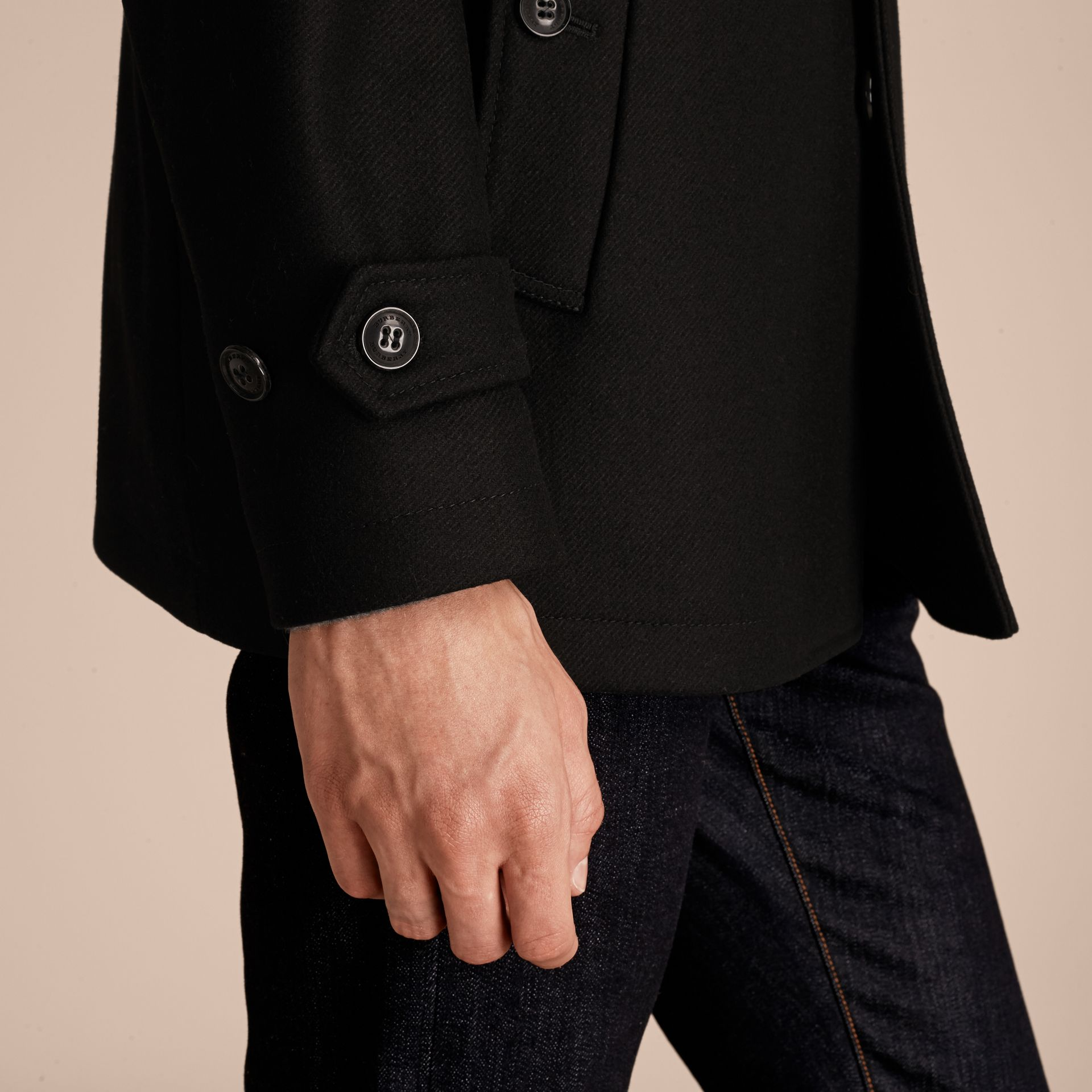 Black Wool Cashmere Blend Coat with Detachable Warmer - gallery image 6