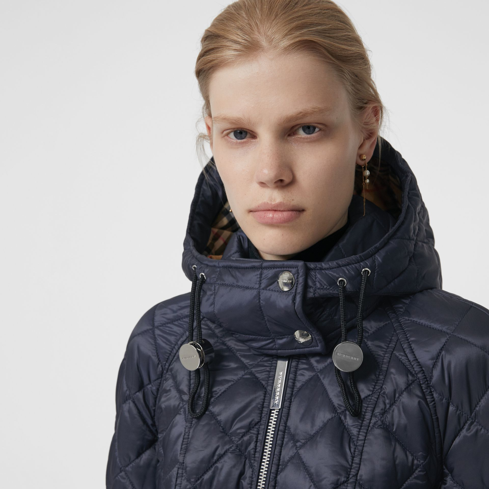 Detachable Hood Lightweight Diamond Quilted Coat in Ink - Women | Burberry United States - gallery image 1