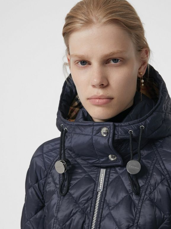 Detachable Hood Lightweight Diamond Quilted Coat in Ink - Women | Burberry United States - cell image 1