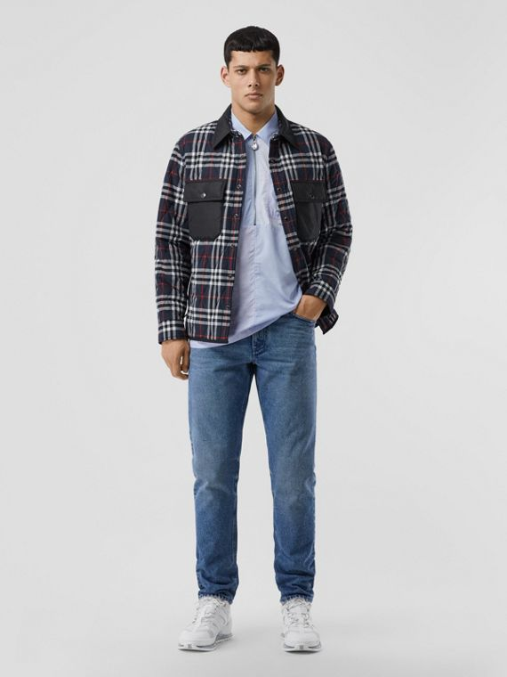 Quilted Check Cotton Flannel Overshirt in Navy