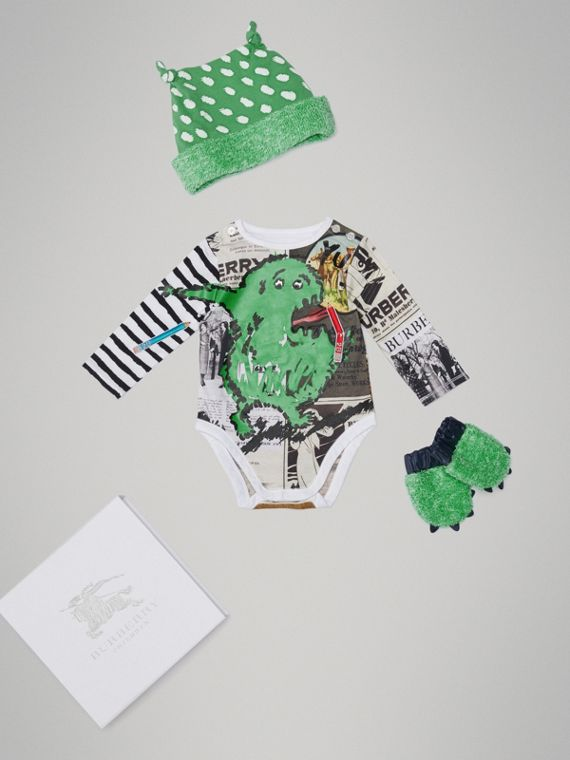 Monster Motif Three-piece Baby Gift Set in White