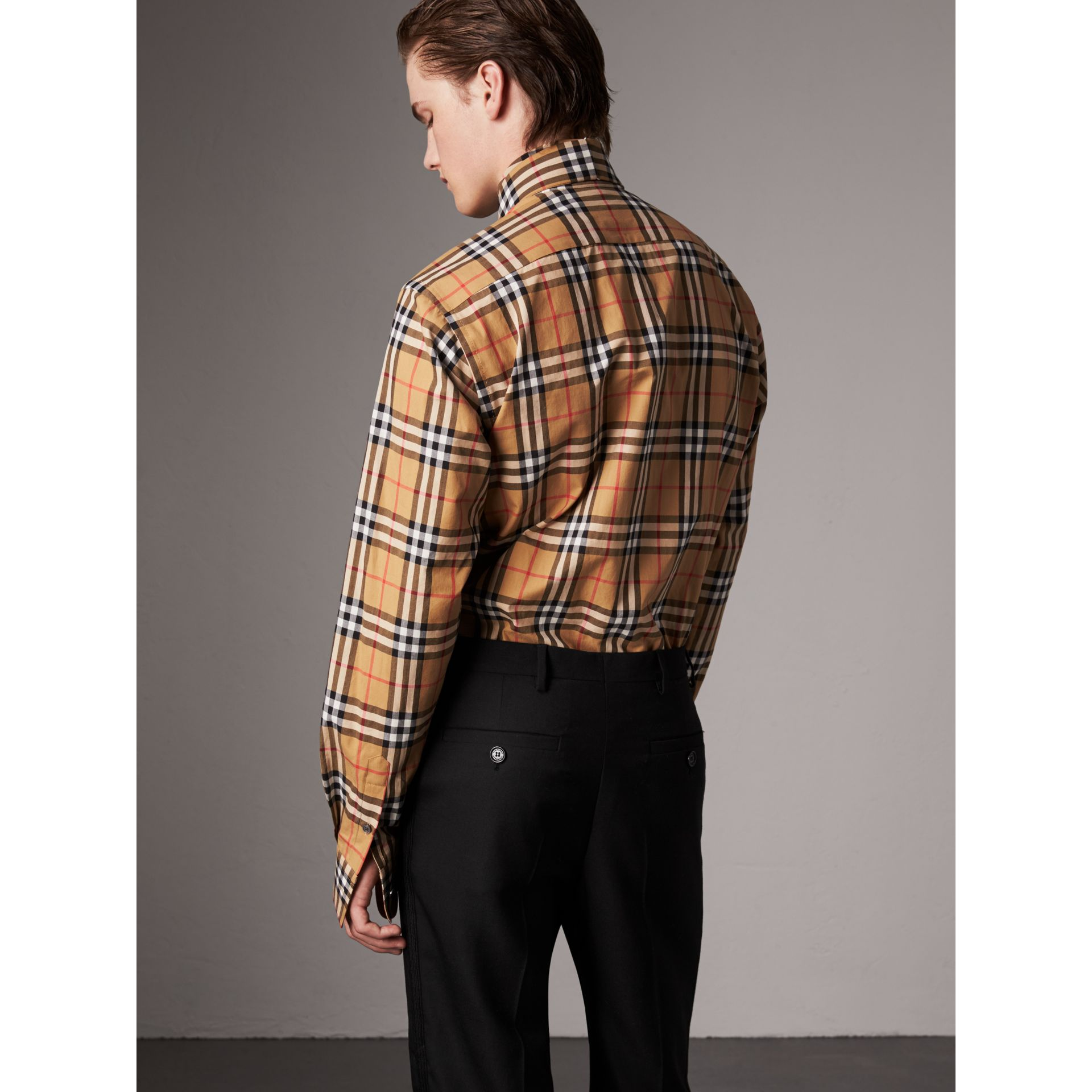 Vintage Check Cotton Tie-neck Riding Shirt in Antique Yellow - Men | Burberry Hong Kong - gallery image 2