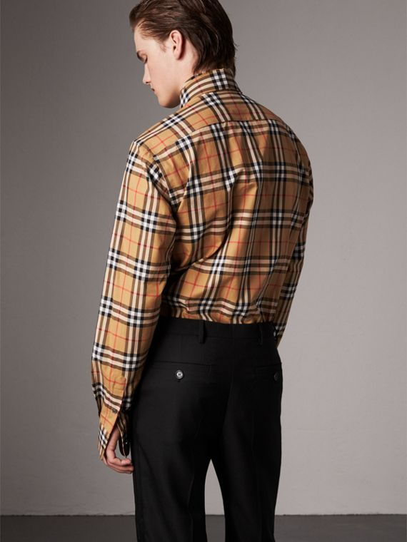Vintage Check Cotton Tie-neck Riding Shirt in Antique Yellow - Men | Burberry Hong Kong - cell image 2